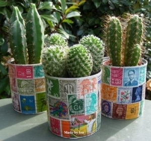 tin cans stamps postage crafts